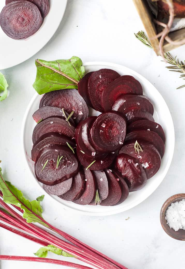 overhead photo of cooked beets in the instant pot