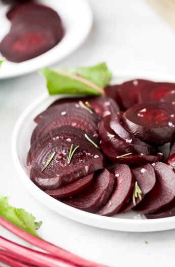sliced beets on a plate that have been cooked in the instant pot