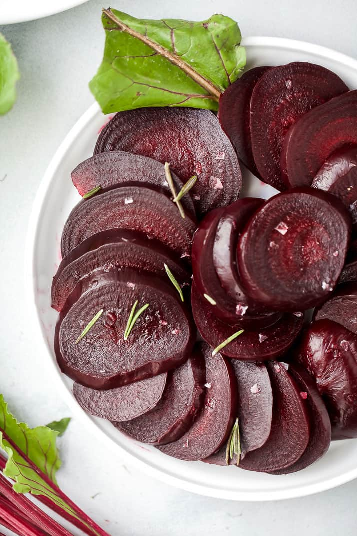 sliced beets that have been cooked in the instant pot