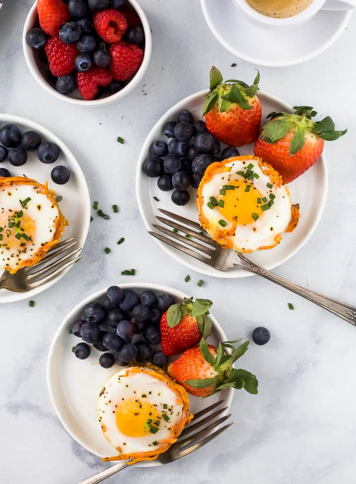 overhead photo of sweet potato hash baked egg cups