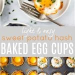 pinterest image of sweet potato hash baked egg cups