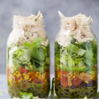 two Mason Jar Southwest Chicken Salads with Cilantro Lime Dressing