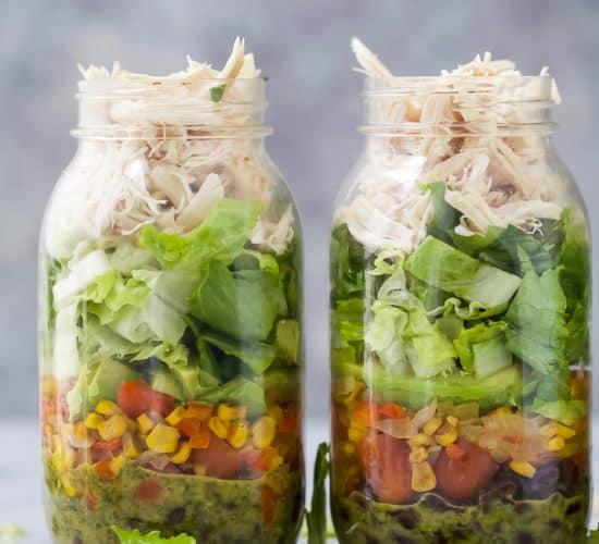 two Mason Jar Southwest Chicken Salads with Cilantro Lime Dressing