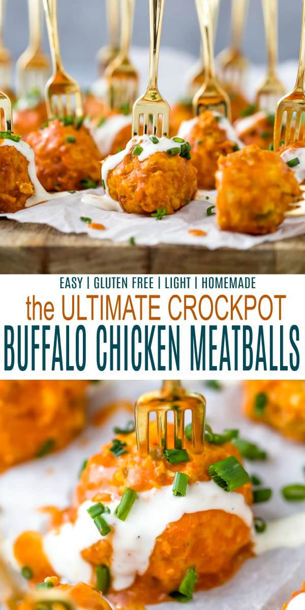 pinterest image for the ultimate easy crockpot buffalo chicken meatballs