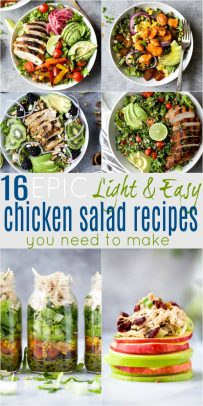 pinterest image for 16 EPIC Light & Easy Chicken Salad Recipes