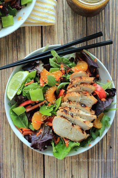 asian chicken salad with mandarin oranges and sesame ginger dressing