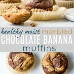 Healthy Marbled Chocolate Banana Muffins - Amazing Banana Muffins!