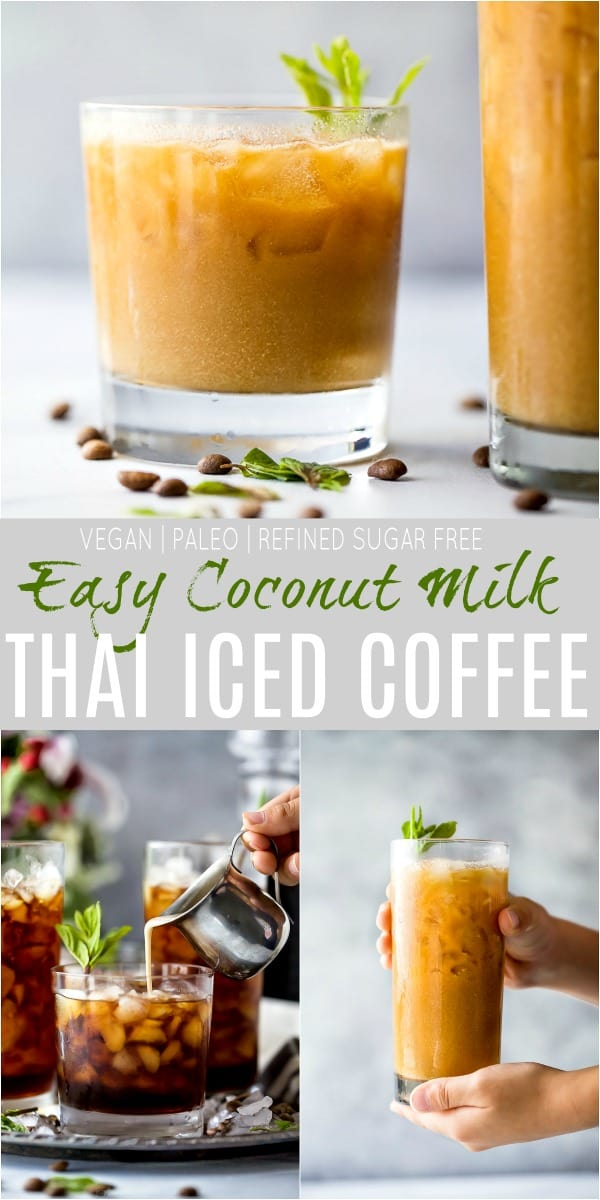 pinterest image for easy coconut milk thai iced coffee recipe