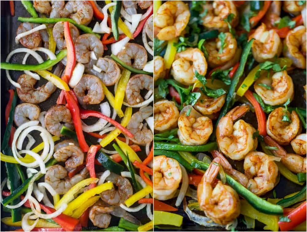 fajita shrimp with peppers and onions on a baking sheet