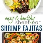 pinterest image for sheet pan shrimp fajitas