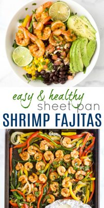 pinterest image for sheet pan shrimp fajitas