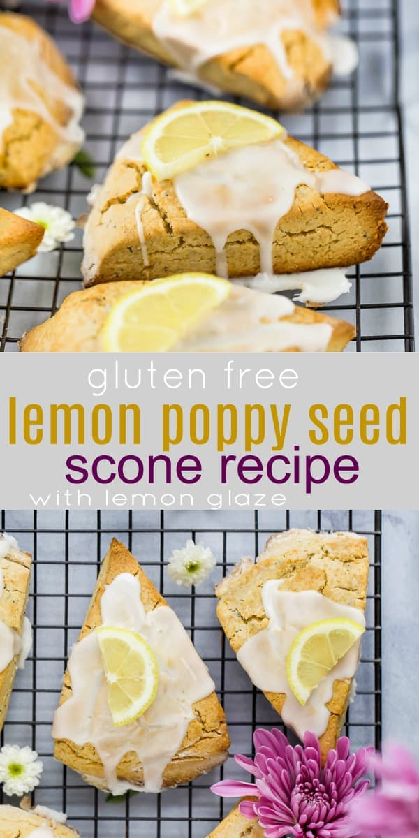 pinterest image for gluten free lemon poppy seed scones with lemon glaze on top