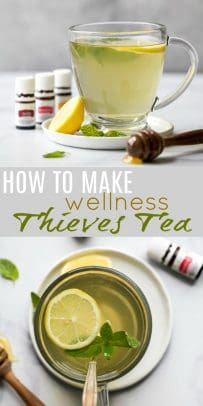 pinterest image for how to make wellness thieves tea