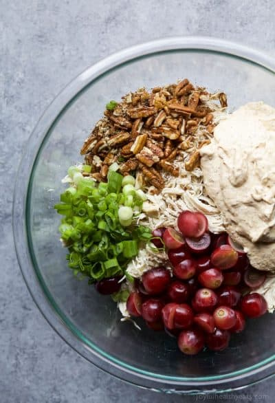 light easy chicken salad with yogurt dressing, grapes and pecans