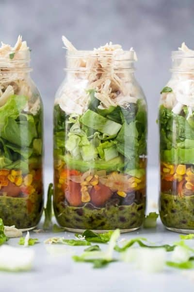 mason jar southwester chicken salad with veggies and a cilantro lime dressing