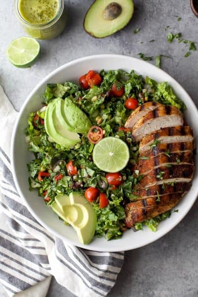 mexican chopped salad with grilled chicken and poblano dressing on a plate