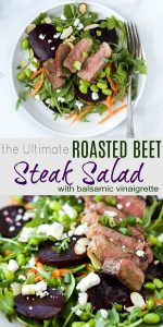 pinterest image for the Ultimate Roasted Beet Steak Salad Recipe