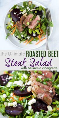 pinterest image for the Ultimate Roasted Beet Steak Salad Recipe