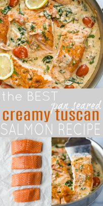 pinterest image for the best pan seared creamy tuscan salmon recipe
