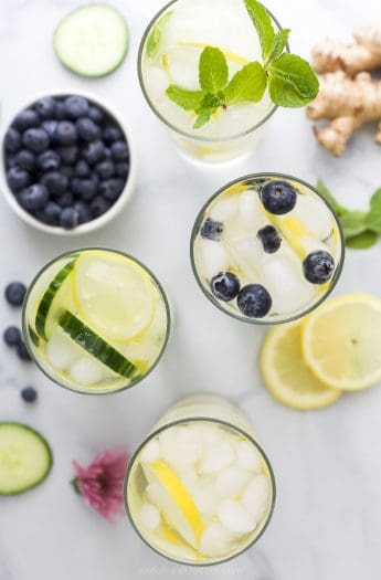 overhead photo of 4 detox lemon water recipes