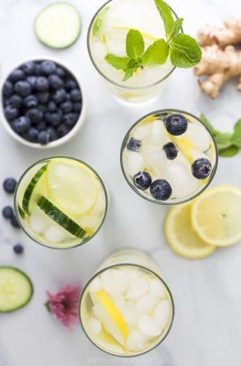 overhead photo of 4 detox lemon water recipes