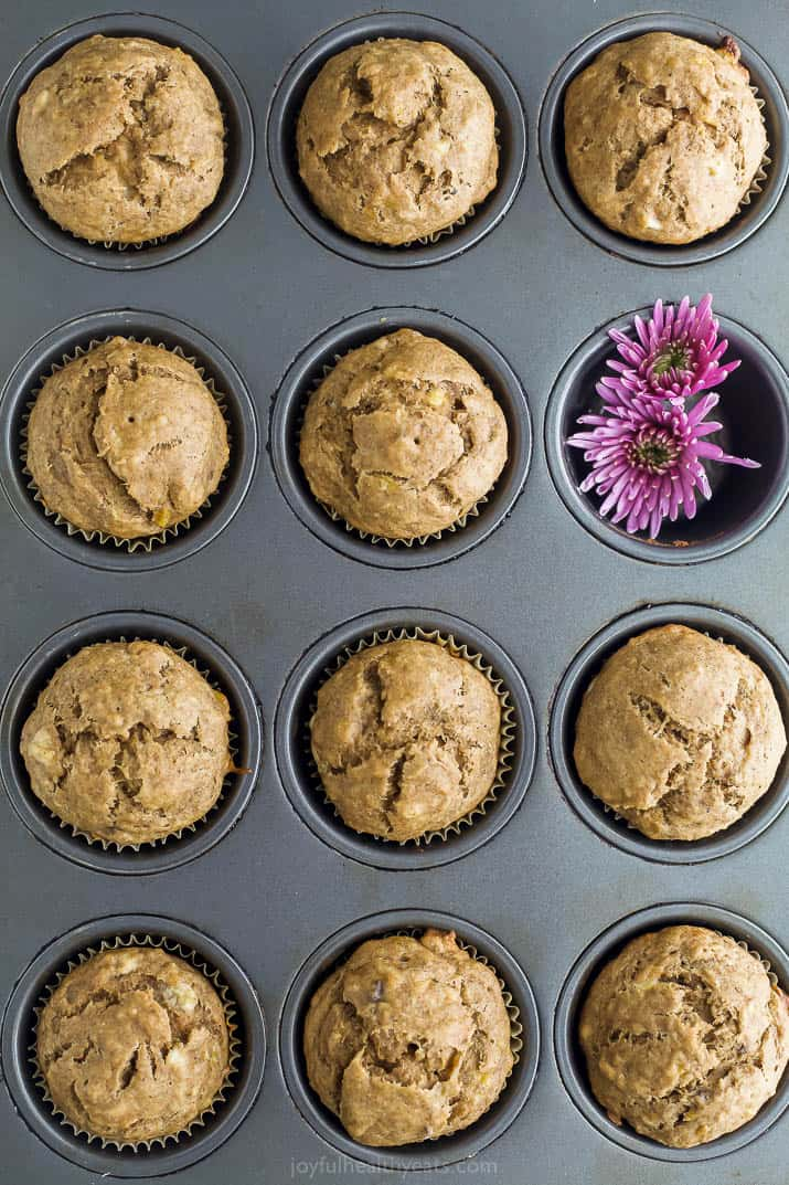 classic healthy banana muffins in a muffin tin