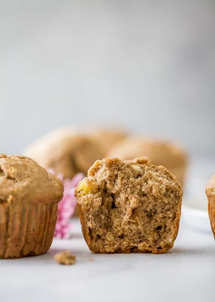 close up photo of the inside of a classic healthy banana muffin