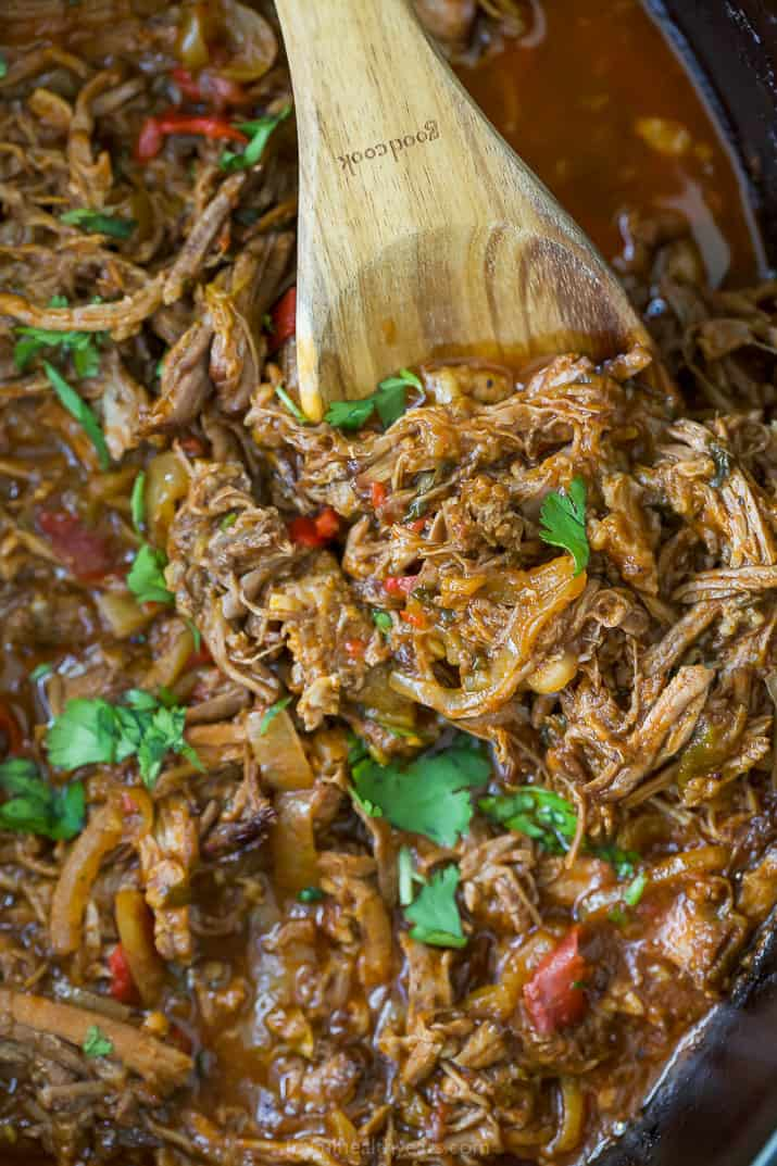 close up photo of crock pot ropa vieja recipe (shredded beef)