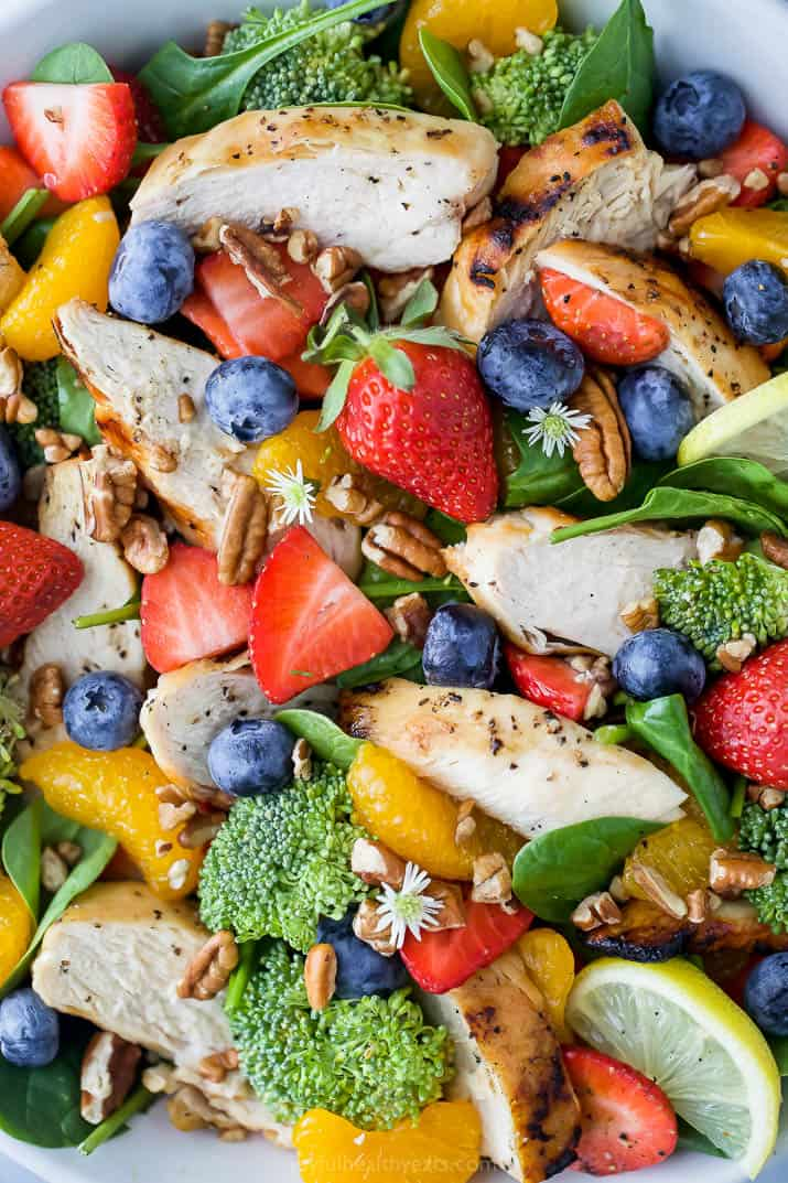 close up photo of detox strawberry chicken salad with honey mustard dressing