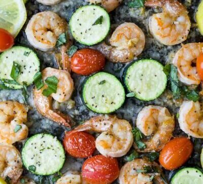 Overhead photo of Easy Garlic Parmesan Sheet Pan Shrimp and Zucchini