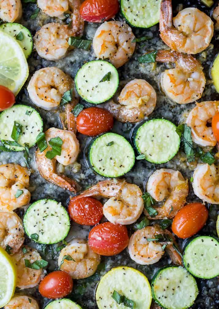 Overhead photo of Easy Garlic Parmesan Sheet Pan Shrimp and Zucchini