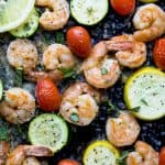 Easy Garlic Parmesan Sheet Pan Shrimp and Zucchini on a pan