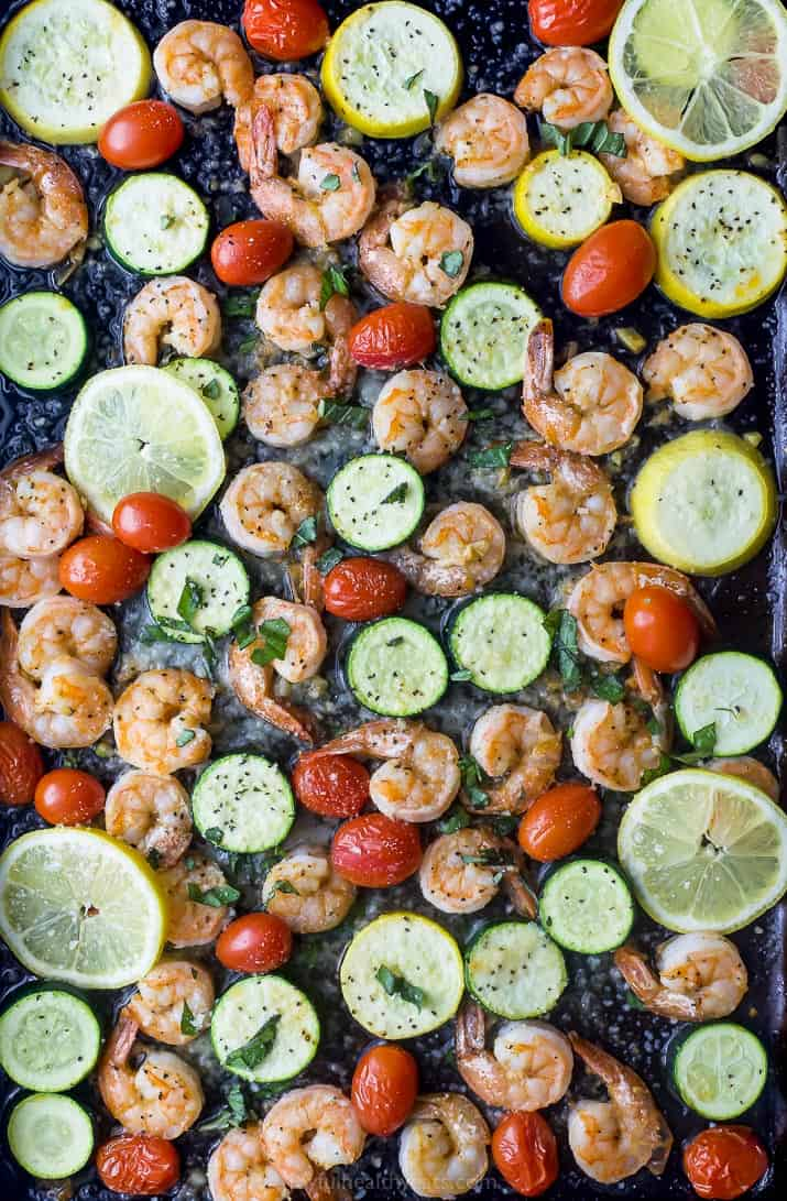 finished photo of Easy Garlic Parmesan Sheet Pan Shrimp and Zucchini on a pan