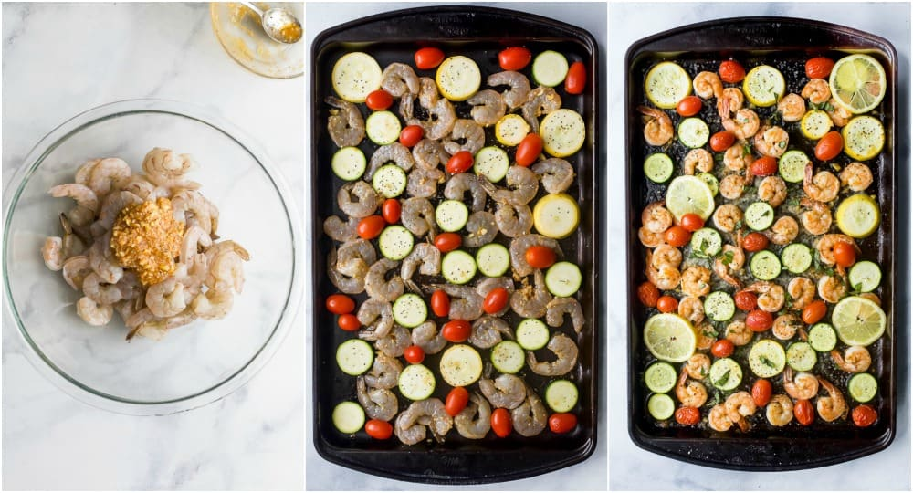 process photos of how to make Easy Garlic Parmesan Sheet Pan Shrimp with roasted veggies