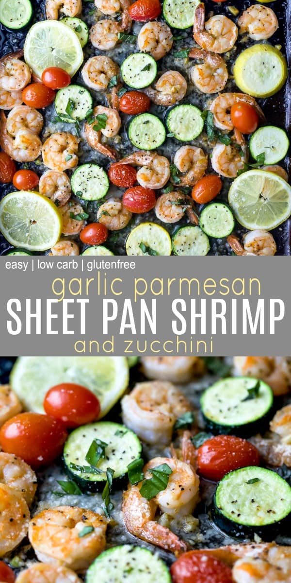 pinterest image for Easy Garlic Parmesan Sheet Pan Shrimp and Zucchini