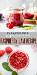 pinterest image for Homemade Raspberry Jam Recipe without Pectin