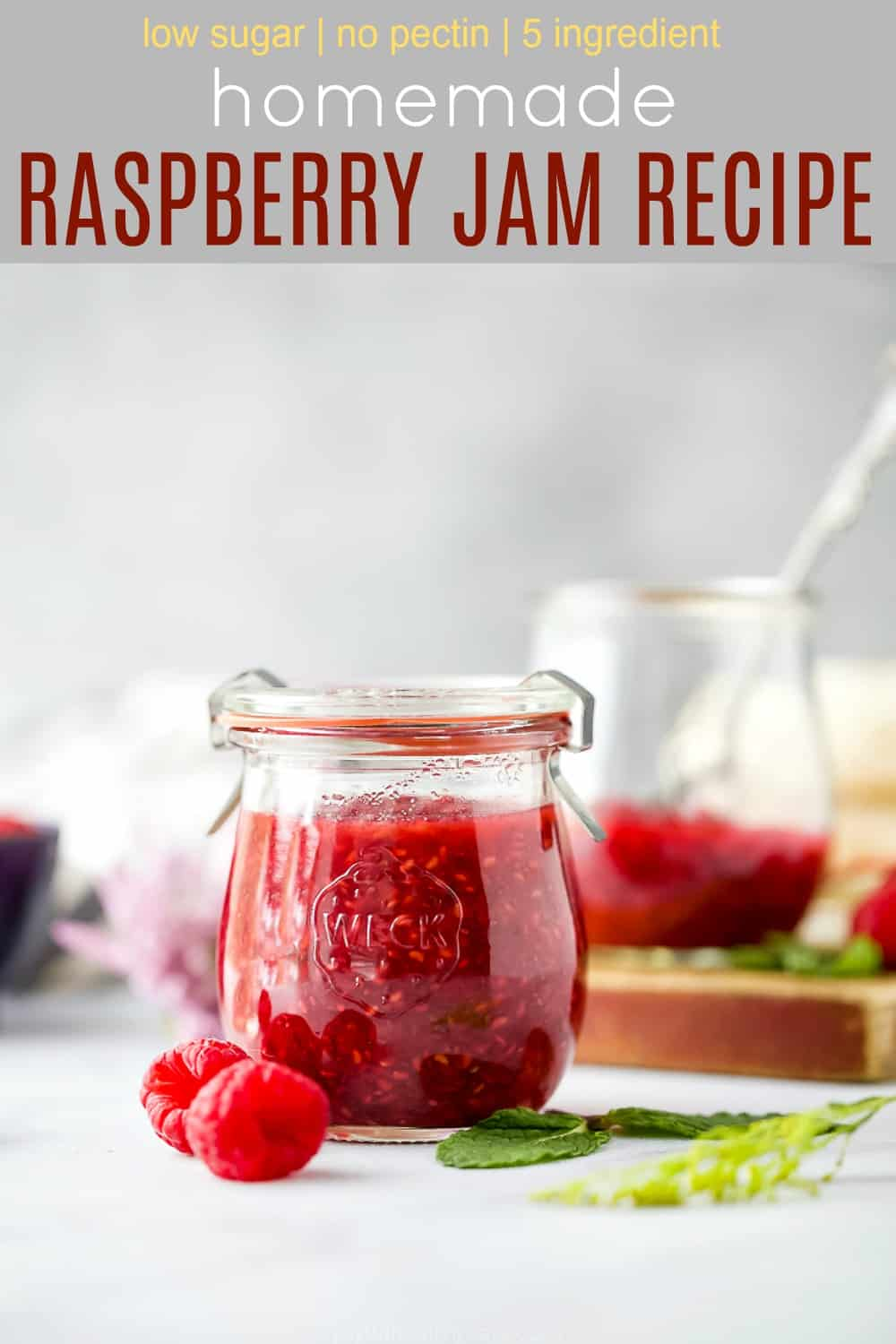 pinterest image for Homemade Raspberry Jam Recipe