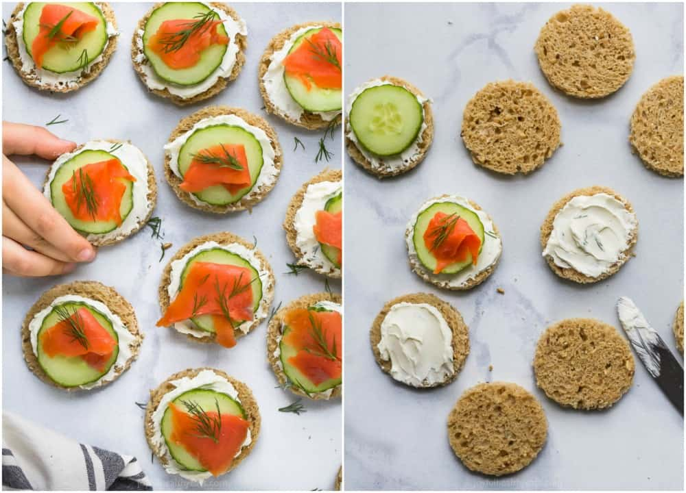 process photos of how to make smoked salmon cucumber tea sandwiches