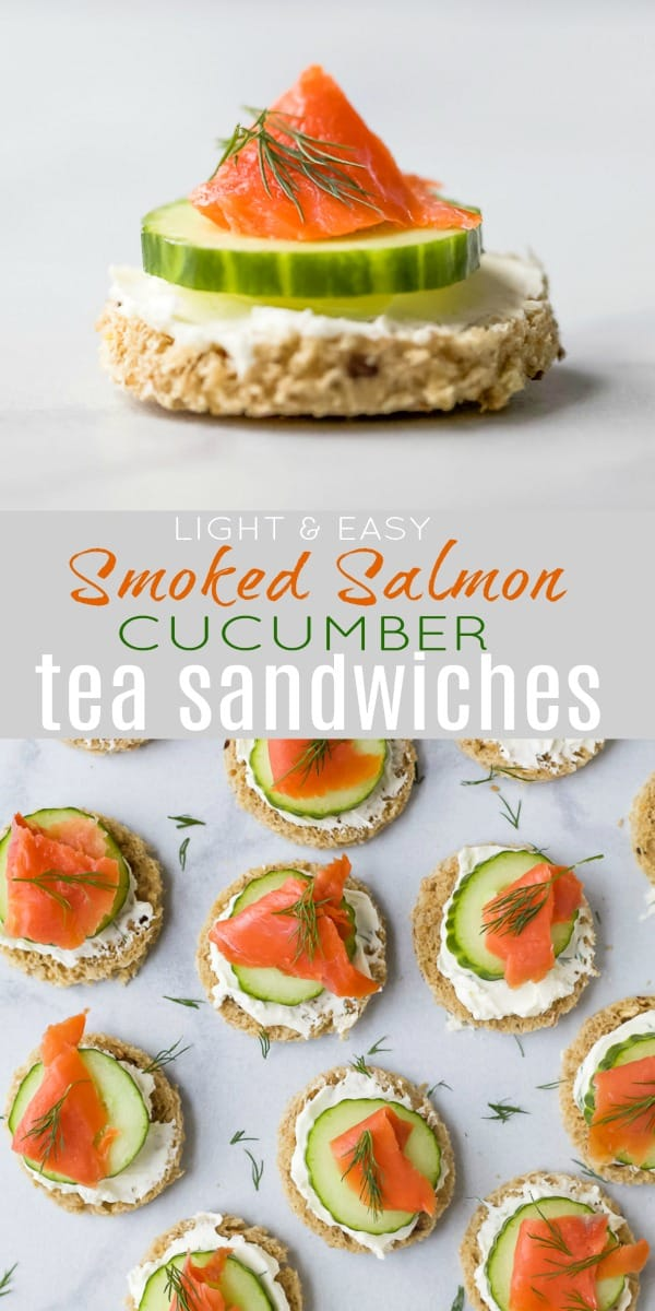 pinterest image for smoked salmon cucumber tea sandwiches
