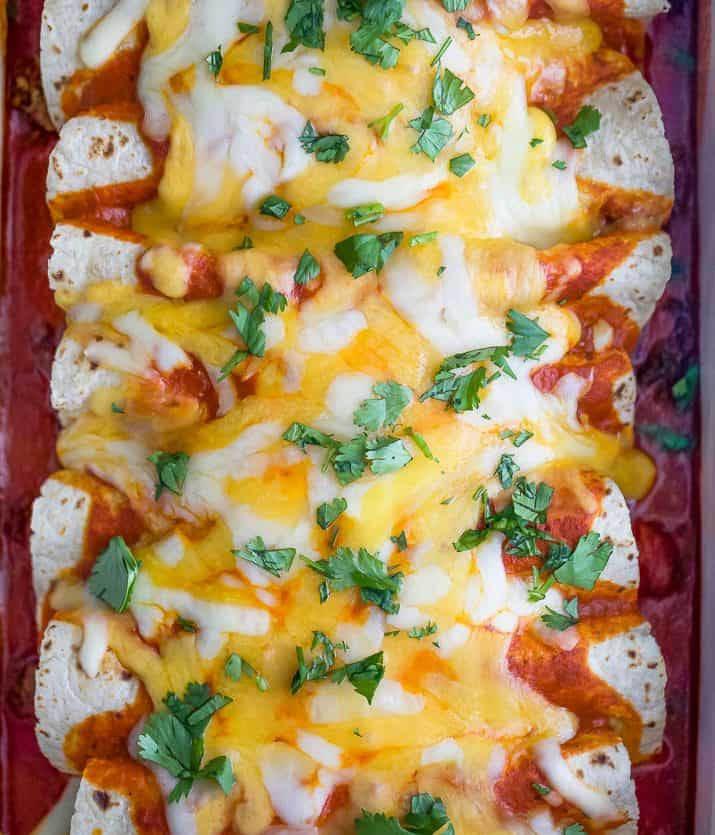 overhead close up photo of The Ultimate Ground Beef Enchilada Recipe