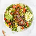 overhead photo of 30 Minute BBQ Chicken Salad with Cilantro Lime Dressing