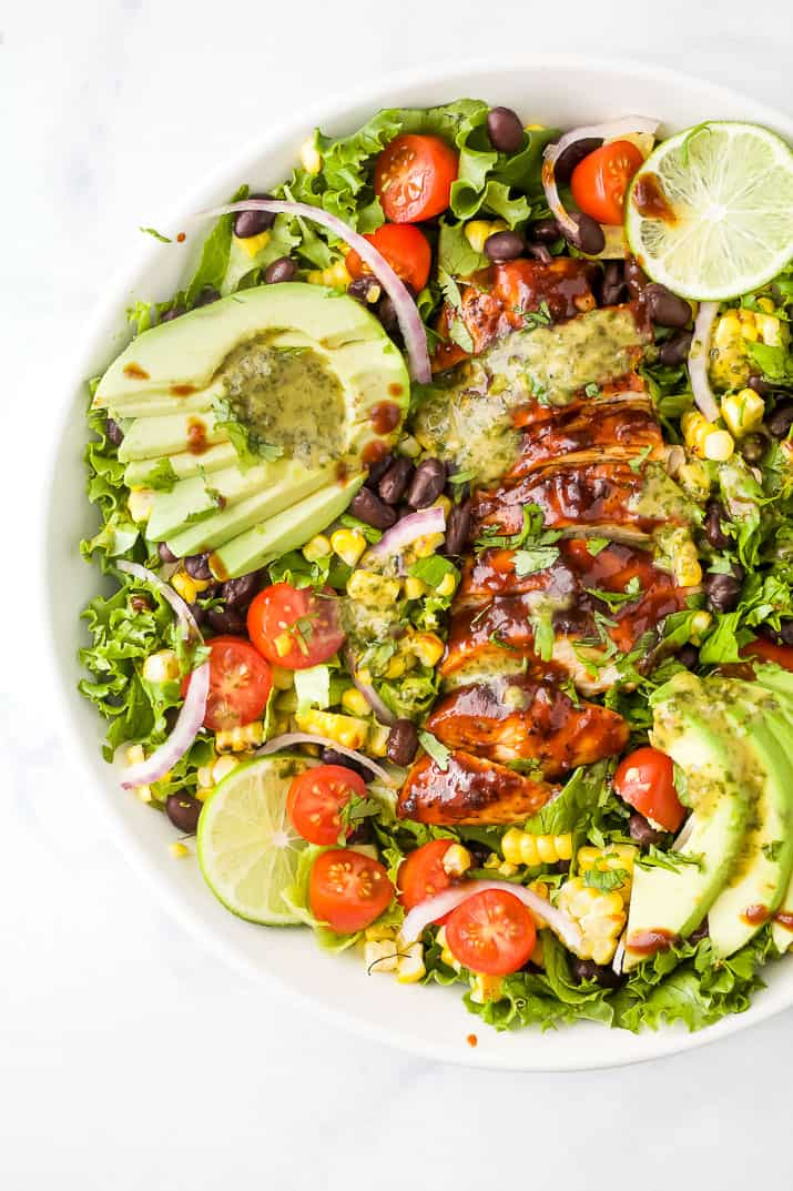 close up photo of 30 minute Grilled BBQ Chicken Salad with Cilantro Lime Dressing in a bowl