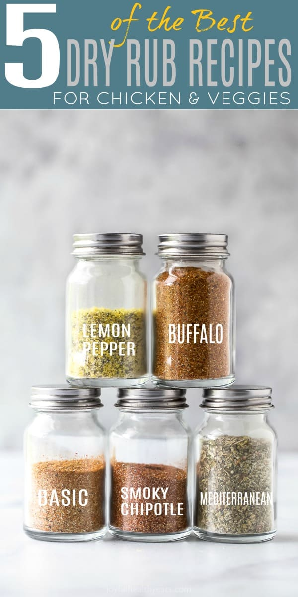 5 of the BEST Dry Rub Recipes for Chicken in small glass jars
