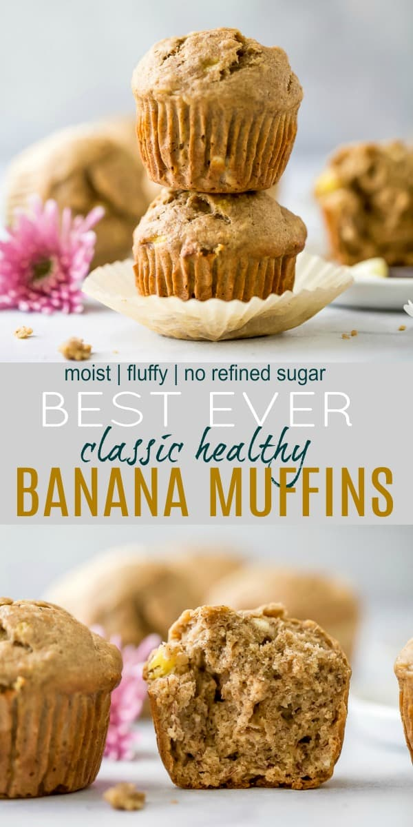 pinterest image for best ever classic healthy banana muffins