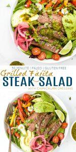 pinterest image for Grilled Fajita Steak Salad with Chimichurri Dressing