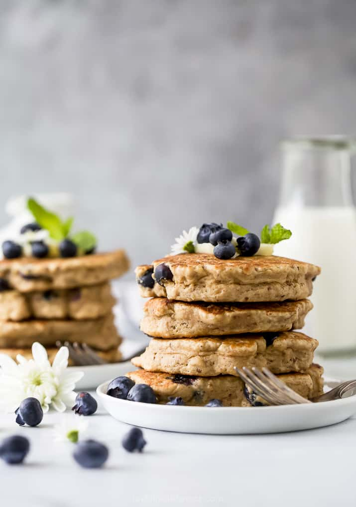 stack of healthy vegan blueberry pancakes on a plate