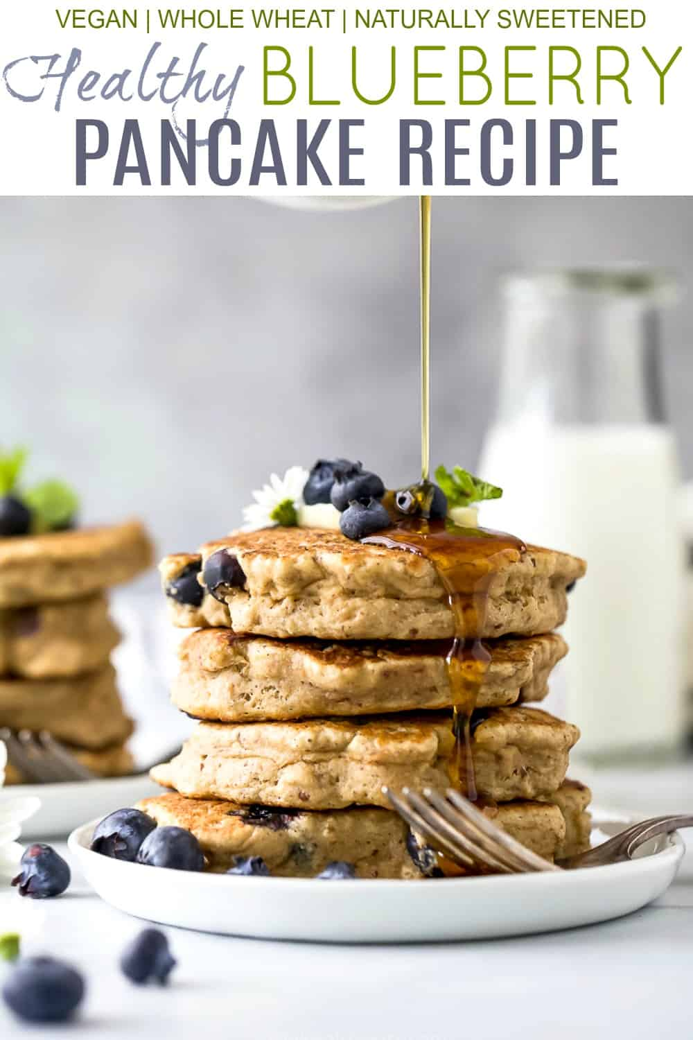 pinterest image for healthy vegan blueberry pancake recipe