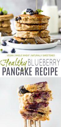 pinterest image for healthy vegan blueberry pancake recipe