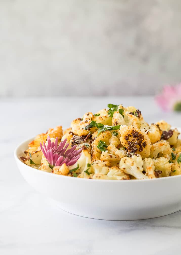 side photo of low carb parmesan roasted cauliflower recipe