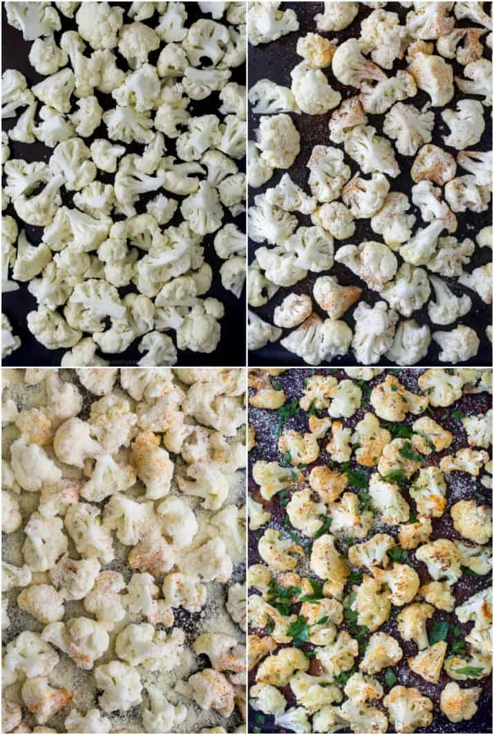 process photos of how to make a low carb parmesan roasted cauliflower recipe